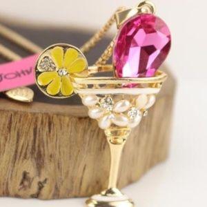 pink rhinestone martini glass necklace
